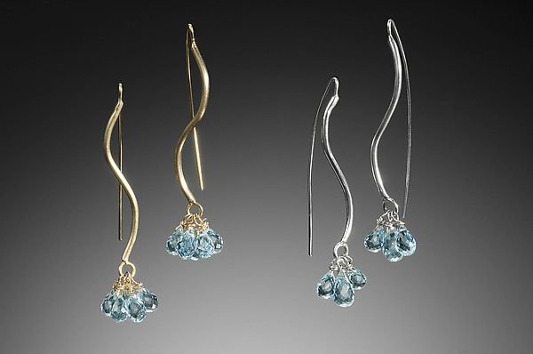 S Curve Earrings by Kennedi Milan: Gold, Silver, & Stone Earrings available at www.artfulhome.com