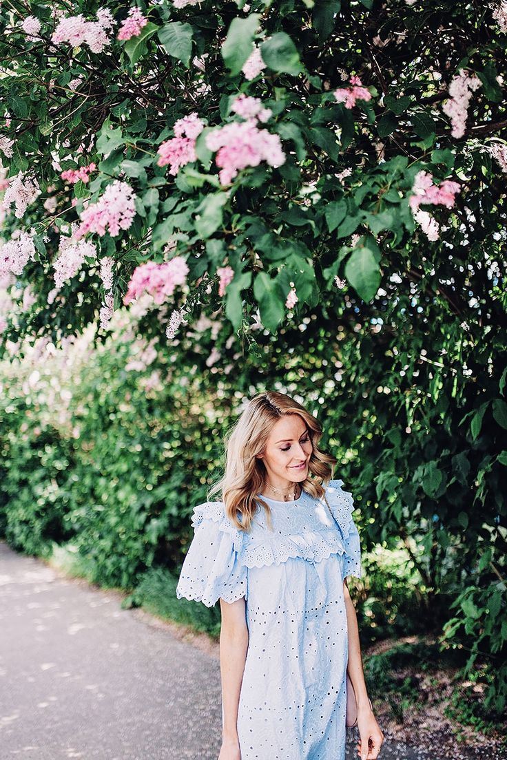 Summer outfit with the cutest lace dress in baby blue - Anna Pauliina, Arctic Vanilla blog.
