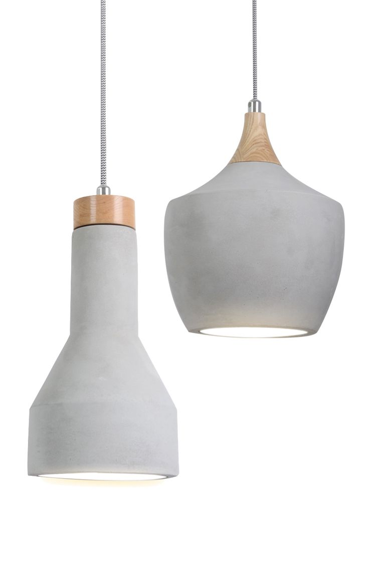 Sculpt 1 light carve or drop 150mm pendant in concrete with ashwood and chrome detail.
