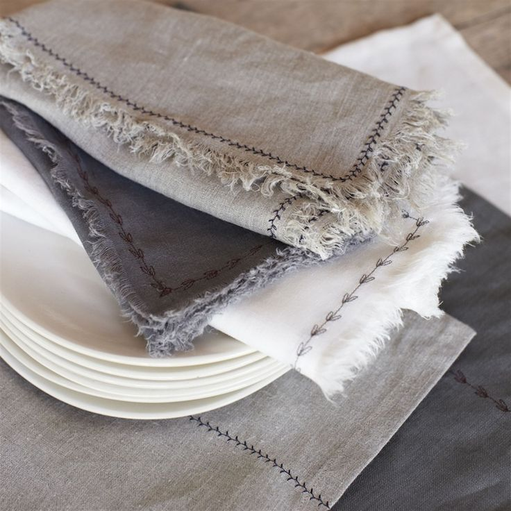 love these linen napkins! Greenhouse Design Studio. linen placemats and napkins