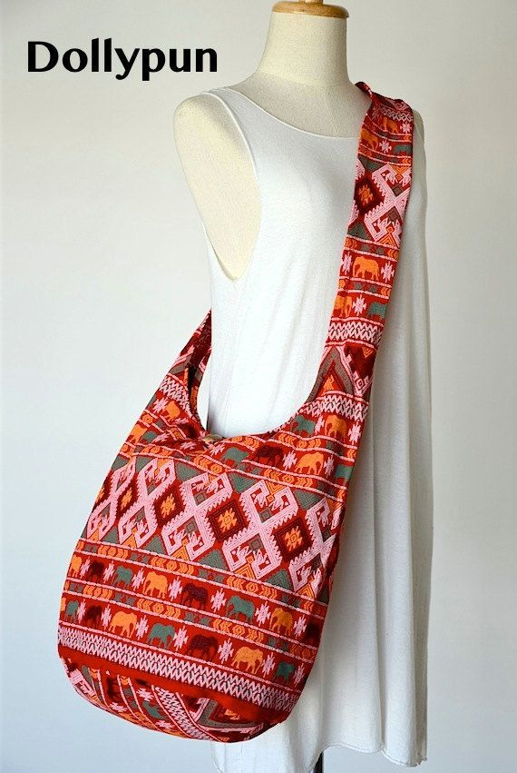 Traditional Thai Patterns / RED / Ethnic Hippie Purse by Dollypun