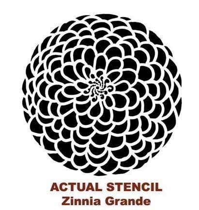 Flower Stencil Zinnia Grande X-SM Lovely by CuttingEdgeStencils