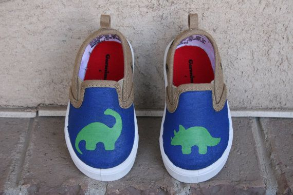 HAND PAINTED DINOSAUR Shoes boy shoes Size 2-12 Kid by HarMonet