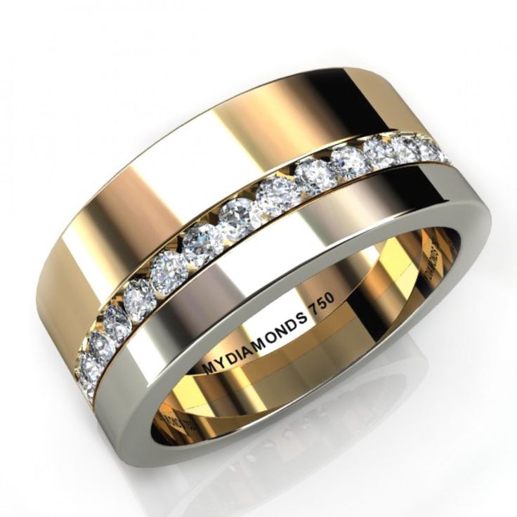 Two Tone Mens Diamond Wedding Ring With Channel Set Diamonds Sandwiched Between Bands Of White And Yellow Gold