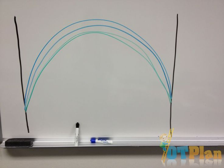 This activity promotes crossing midline and functional grasp by drawing between vertical lines while standing.