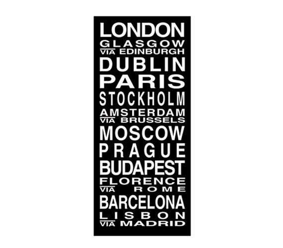 European Cities Destination Roll / Subway Scroll / Tram Banner / Bus Schedule 22in x 50in - Ready to Hang. $149.00, via Etsy.