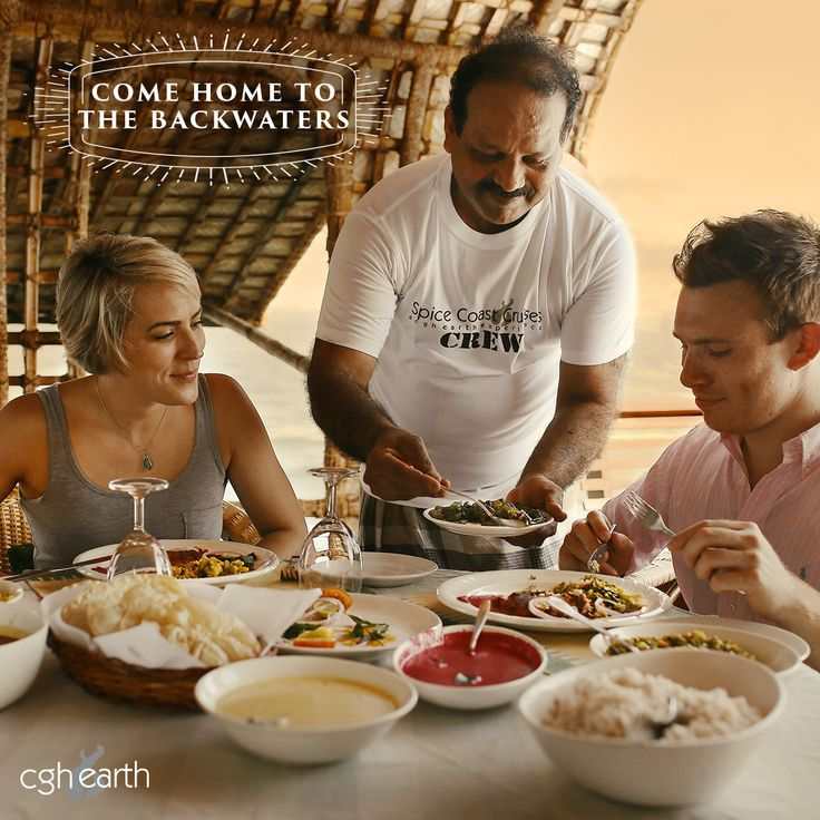 Homely lunch served onboard the Spice Coast Cruises houseboats in Kerala, India.