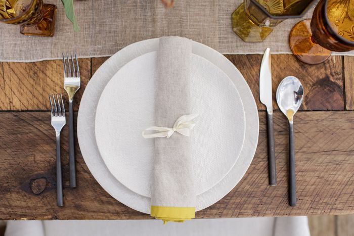 Modern Industrial Flatware, White Linen Dinnerware by Set Maui wedding inspiration, Brandon Kidd Photography