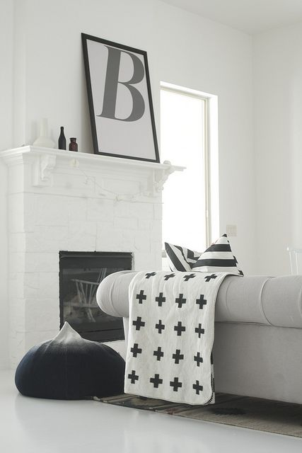 black & white mantel and chester