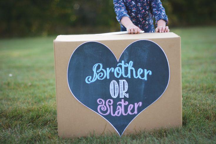 Gender reveal box brother or sister printable pink or blue heart chalkboard file sign