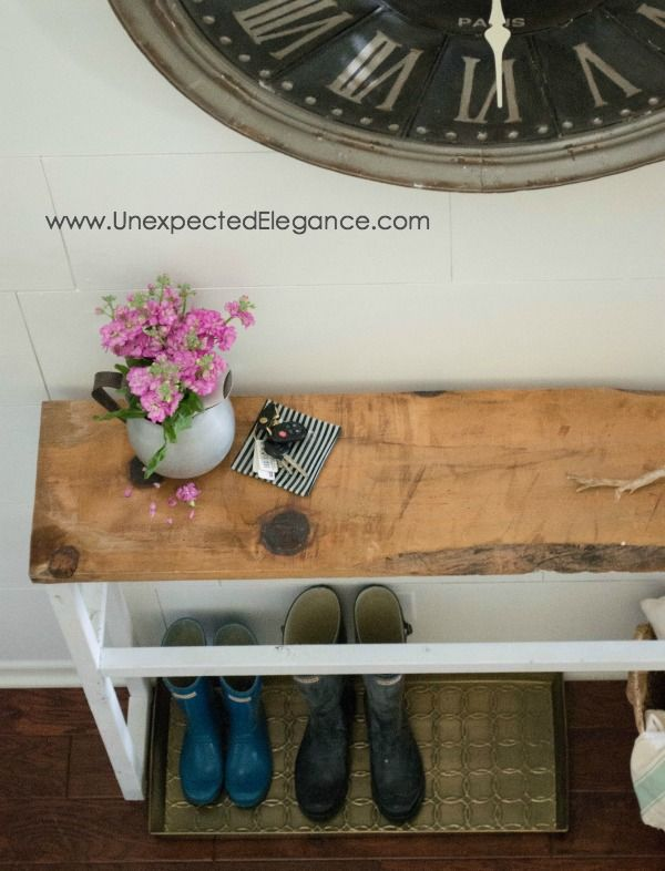 Check out this awesome DIY entry table!!  It's the perfect size for a tight space.  AND cost less than $15 to make!