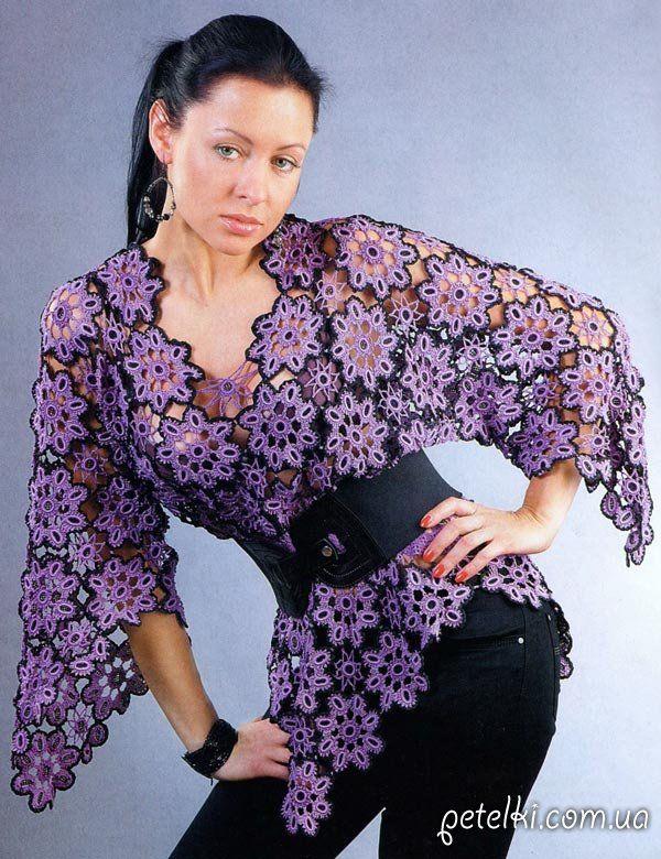 Нарядная блуза из мотивов крючком. Описание, схемы, выкройка