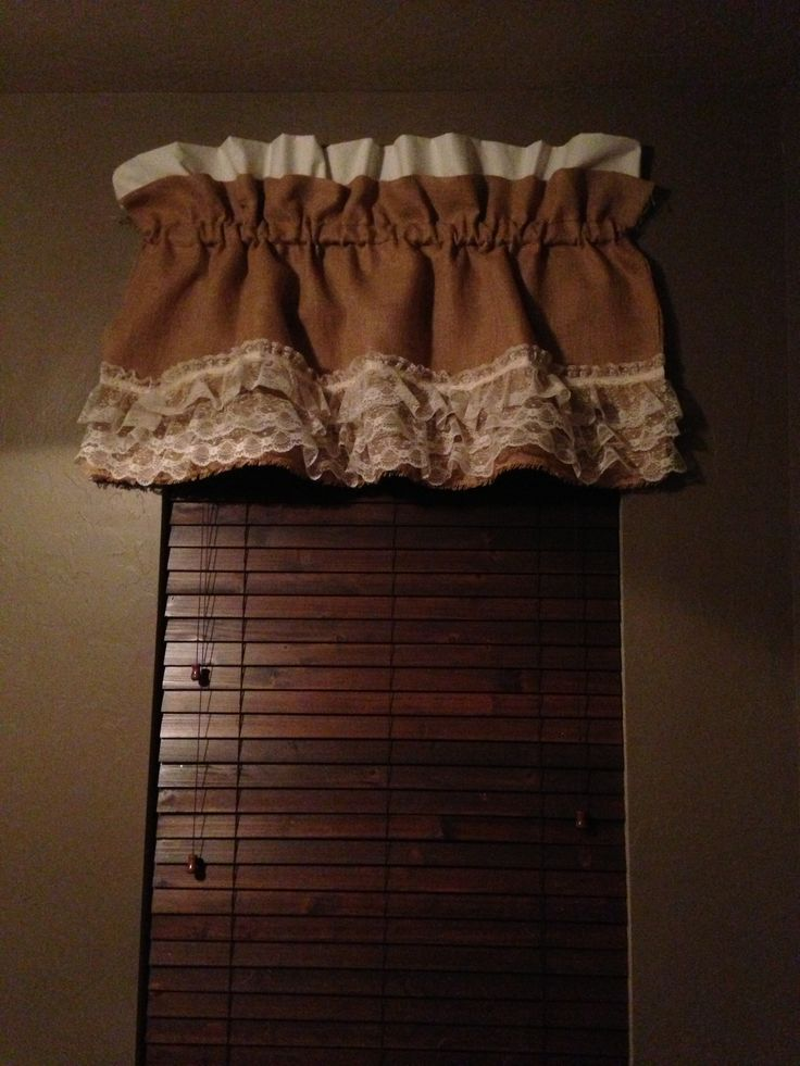 DIY burlap and lace window valance. Good for beginners!