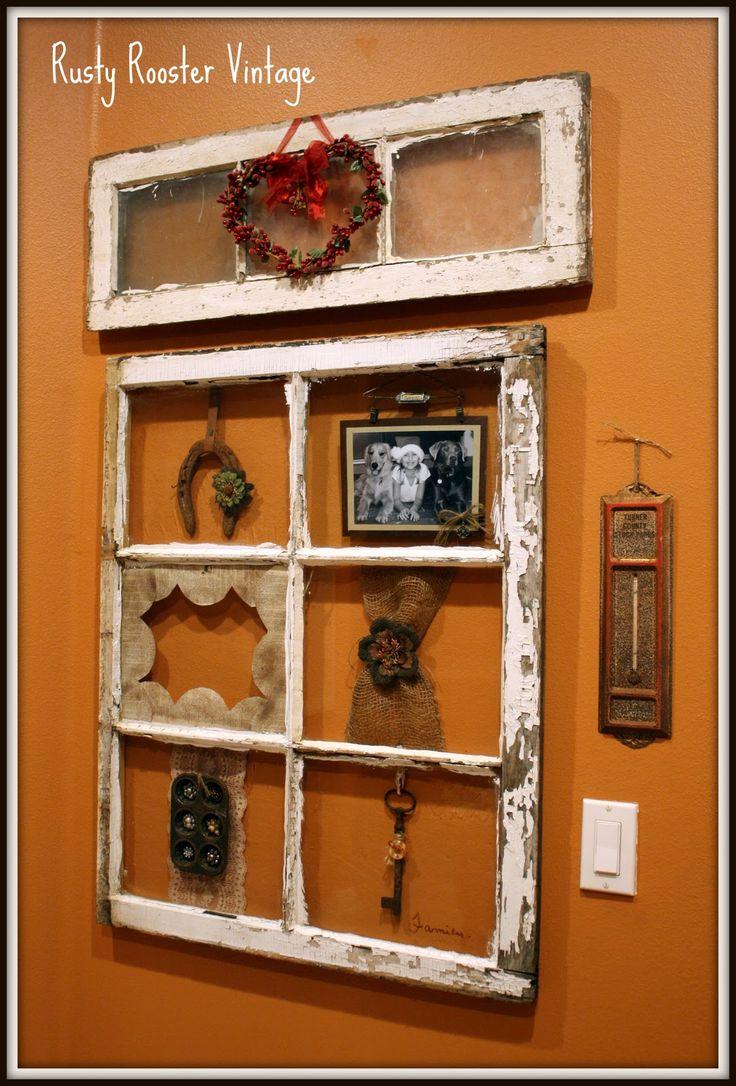 rusty rooster vintage altered antique window window frames recycled pinterest antique. Black Bedroom Furniture Sets. Home Design Ideas
