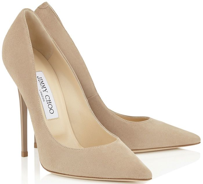 """Jimmy Choo """"Anouk"""" Pumps in Nude Suede"""
