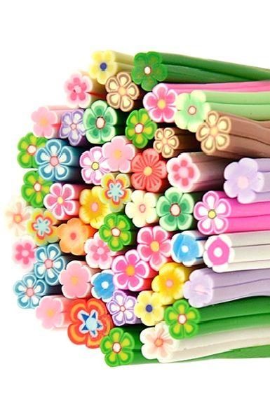 1 Packet(50PCs) Big Flower Mixed Pattern Polymer Clay Nail Art Canes Decoration Nail Beauty