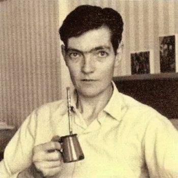 Cortazar with a thing of what can only be yerba mate.