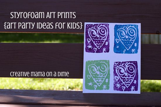 styrofoam art print - art party activities for kids by creative mama on a dime