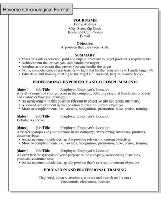 reverse chronological resume format focusing on work history growth