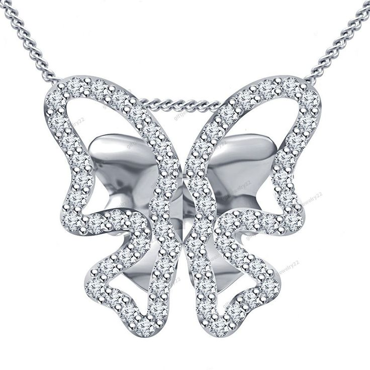 """Free Pouch""Ladies Fashion Collection D/VVS1 Diamond Butterfly Pendant 18"" Chain #giftjewelry22 #ButterflyPendant"