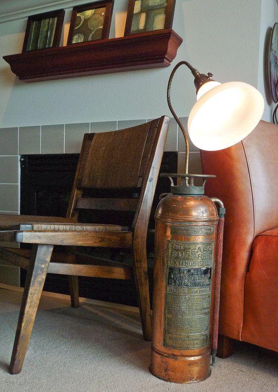 Antiguo extintor lámpara No.2, upcycled OOAK