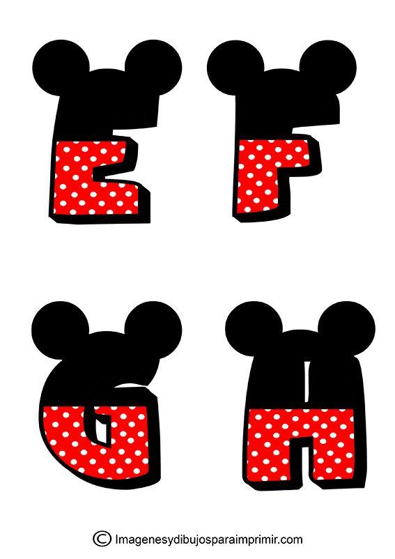 Letras de Mickey Mouse para imprimir , las letras de mickey mouse con sus colores caracteristicos el negro y el rojo, letras decoradas para...