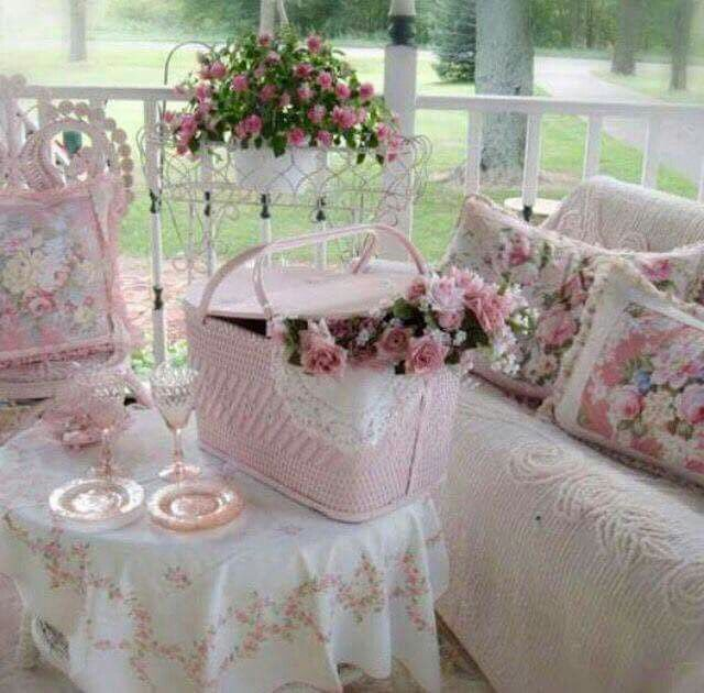 Pink Shabby Chic Roses Picnic Basket. Front porch. Pink and White.