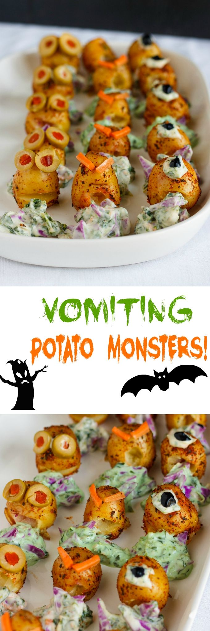 vomiting potato monsters are a great appetizer for halloween - Great Halloween Appetizers