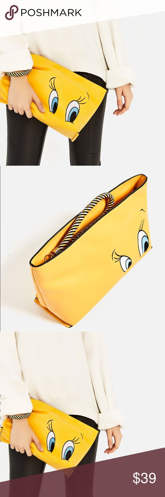 Zara tweety clutch Brand new with tag Zara tweety clutch in size M. Currently sold out in stores and online ! Great with every outfit ! It's such a fashion statement !! Add a pop of color to your outfit ! 😡NO TRADE 😡 (fits a pair of flats) reasonable offers welcome Zara Bags