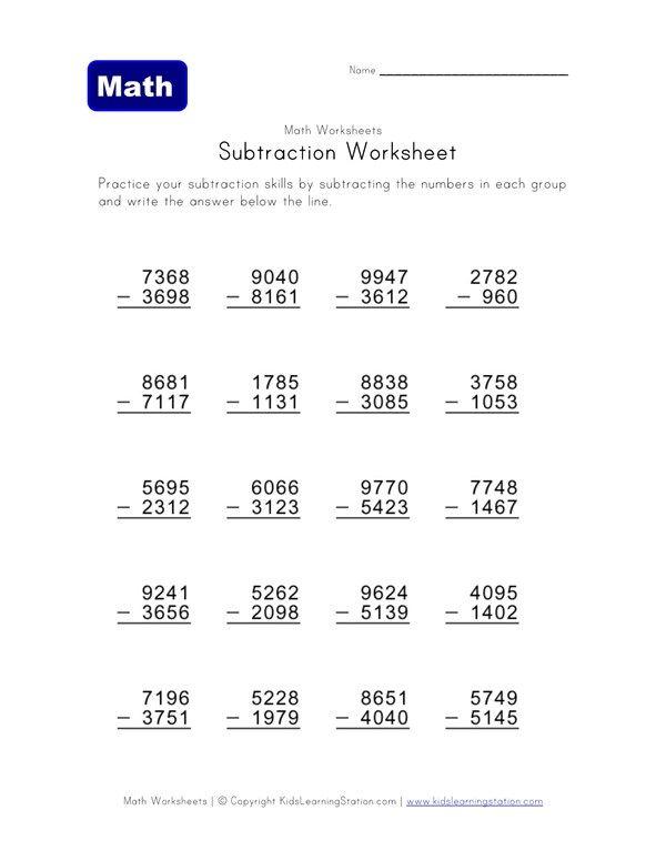 Subtraction Practice Worksheet 6 All Kids Network Pot4