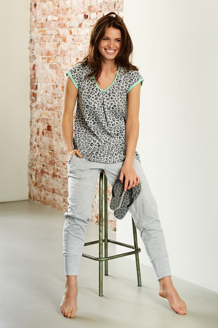 Rebelle trendy leopard print style light grey pyjama top with comfortable relaxed style jogging pants with turn-ups
