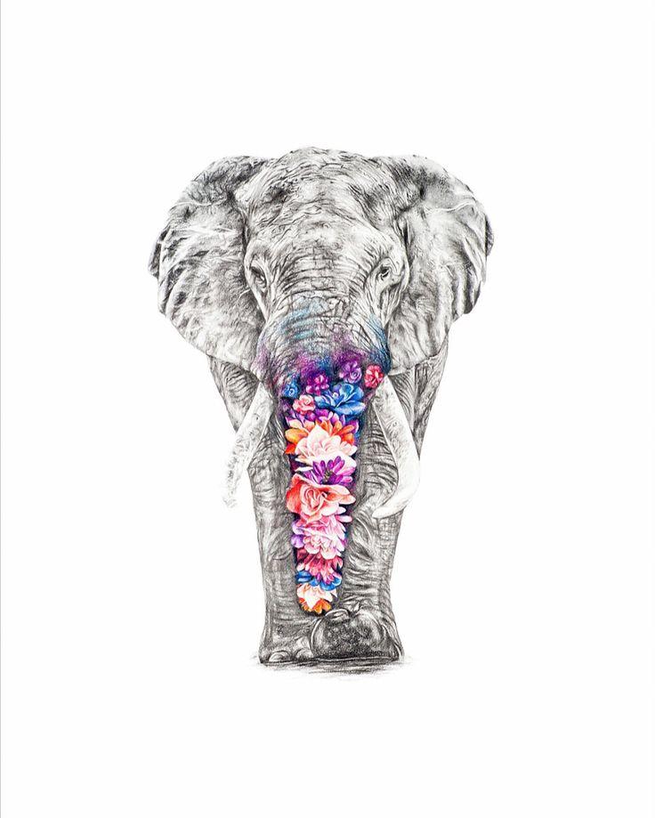 Elephant drawing, flower elephant art, hand drawn illustration, wall art, home decor