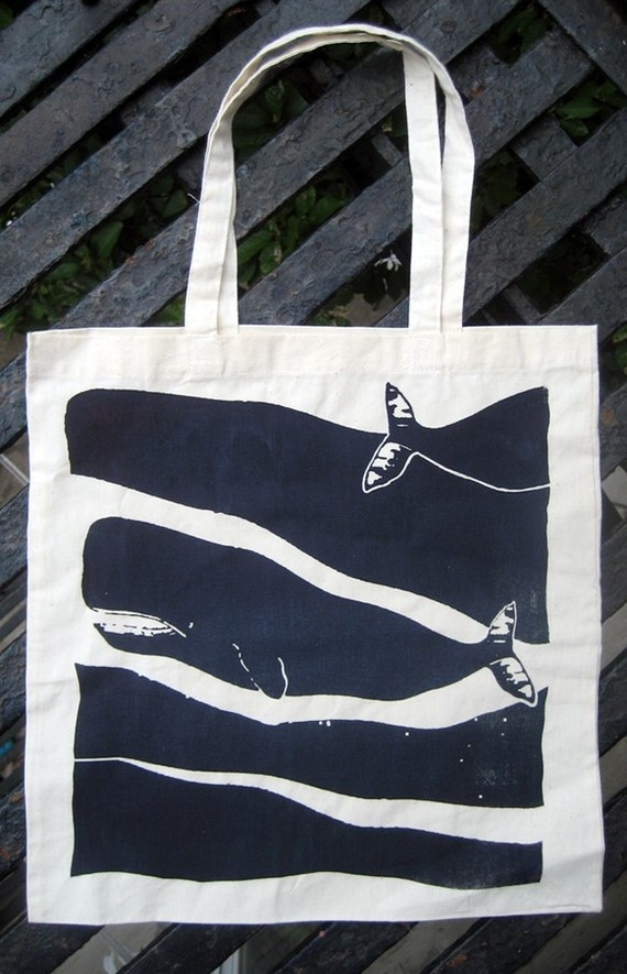 passing whales screenprinted tote by brightbeige