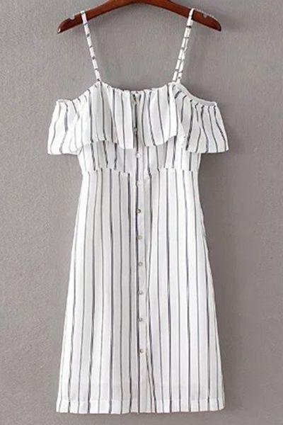 Striped Spaghetti Straps Flouncing Dress WHITE: Dresses 2016 | ZAFUL