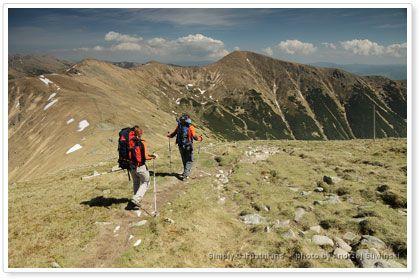 Hiking trail in Lower Tatras, Slovakia.