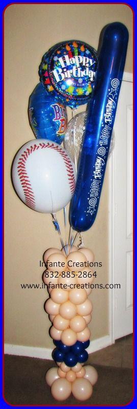 Baseball Birthday Bouquet for the Birthday Boy  #Baseball #Bat #Qualatex #Balloons #BirthdayBoy