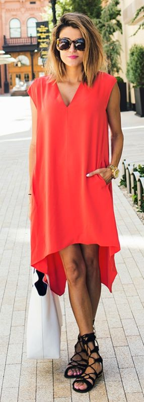 If you're looking for something to wear with gladiator sandals, a loose red dress will do just the trick! Via Christine Andrew   Dress: Macy's, Shoes: Revolve