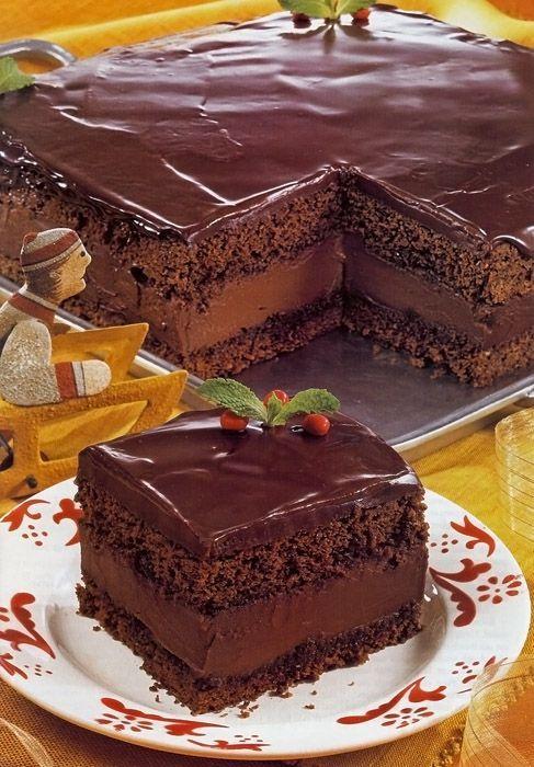 Mocha Layer Cake with Chocolate-Rum Cream Filling