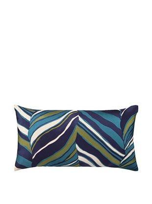 Trina Turk Tiger Leaf Embroidered Pillow (Blue)