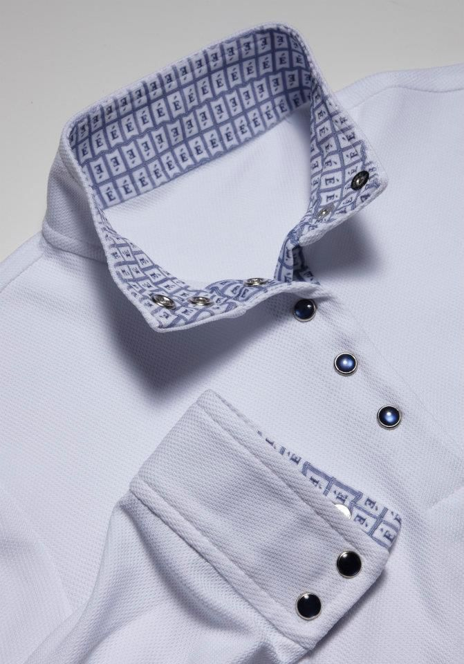 Navy collar with navy snaps (also available with white snaps) - Éce Ladies Long Sleeve Competition Show Shirt