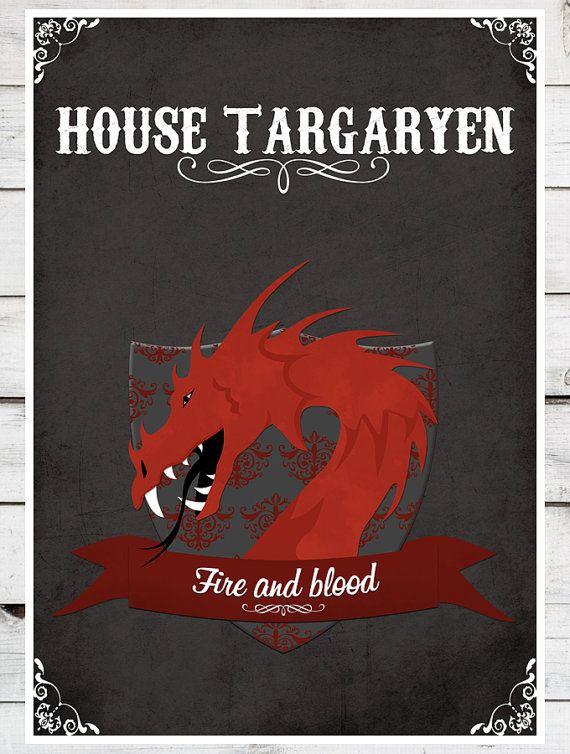 Game of Thrones House Targaryen MANY SIZES by TeacupPiranha