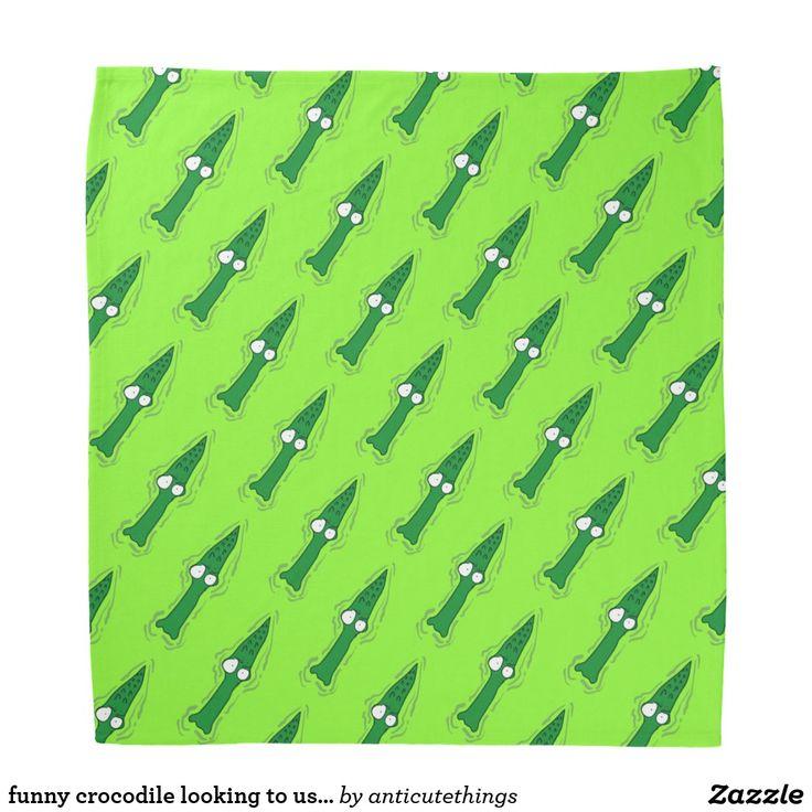 funny crocodile looking to us cartoon bandana #bandana #outdoor #funny #design #zazzle #cartoon #crocodile #adventure #alligator #anticute #cartoons