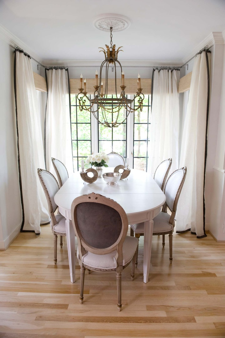Chic French Dining Space With Gray Walls Paint Color White Extension Table Chairs Chandelier Curtains Window Panels