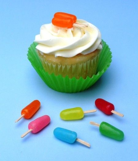 Tiny Popsicle cupcake accents