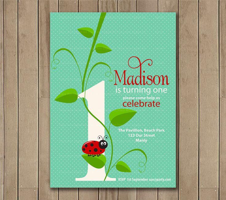 Ladybug 1st  Birthday Invitation, Printable ladybug Invitation, Ladybug, ladybird, 1st Birthday, Girl Birthday by TracyAnnPrintables on Etsy https://www.etsy.com/listing/191078834/ladybug-1st-birthday-invitation