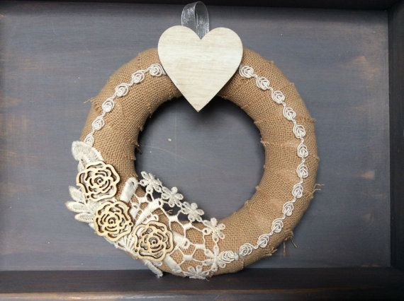 Rustic wreath cottage chic wreath burlap by EnchantedLaceDecor