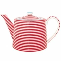 Teas Time, Teas Pots, Things Teas, High Teas, Berries Red, Tea Pots, White Teapots, Teapots Teacups, Stripes Teapots