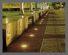 Pathway lighting in a park.