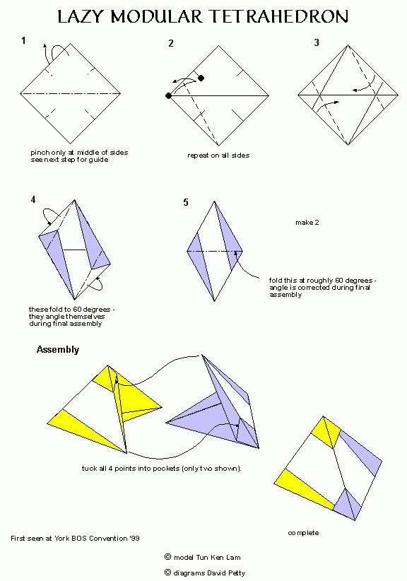 lazy tetrahedron 1 origami pinterest origami and 1quot