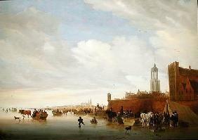 Salomon van Ruysdael - Winter scene near Utrecht